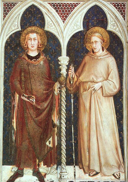 Simone Martini (ca 1284-1344): De hellige Ludvig av Frankrike og Ludvig av Toulouse (1317), freske i Cappella di San Martino i den nedre basilikaen San Francesco i Assisi